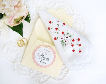 Happy Tears Wedding Hanky Vintage White Flowers Red Hearts Mother of Bride Gift Mother of Groom Gift Gift for Bride, Bridal Shower