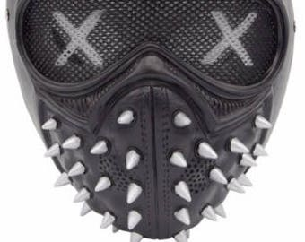 Watch Dogs 2 Mask Wrench Cosplay Rivet Masks  PVC Black Face Cover
