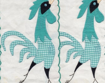Pair of Mid Century Applique Roosters on Linen