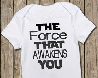 Star Wars Onesie, Force Awakens You, Star Wars Baby, Pregnancy Reveal, Gender Reveal, Baby Gift, The Force Onesie, Funny Onesie, Cute Onesie