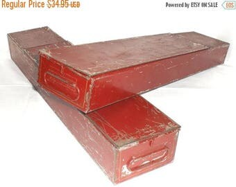 ON SALE Vintage Pair of Red & Gold Bank Safe Deposit Boxes. Both latching with Handles on both end. Metal and Tin