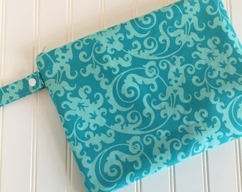 Teal Swirl Swimsuit Bag -  Swim Bag - Lake Bag - Beach Bag - Waterproof Bag - Swimsuit Bag - Zip Pouch - Zippered Wet Bag - Bikini Wet Bag