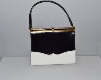 Vintage Risque Black White Patent Kelly Handbag ~ Kelly Purse ~ 60s Mad Men