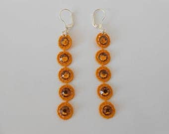 Earrings in yellow lace with swarovski crystal rhinestones