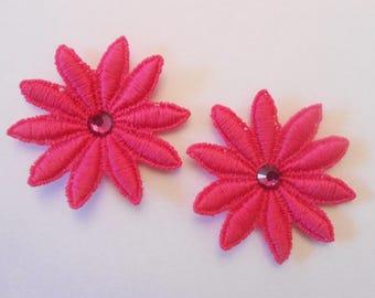 2 flowers in Fuchsia lace 5 cm