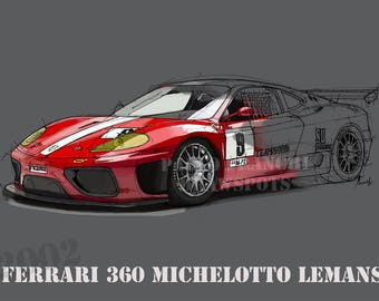 FERRARI 360 MICHELOTTO Le Mans, 8.62x12 in and bigger sizes,gift for men,teen bedroom decoration,office decoration,red and grey poster
