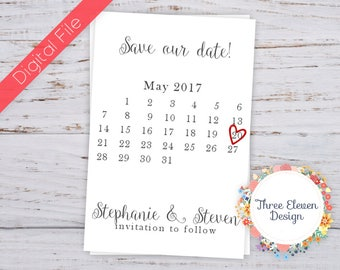 Calendar Printable Save the Date