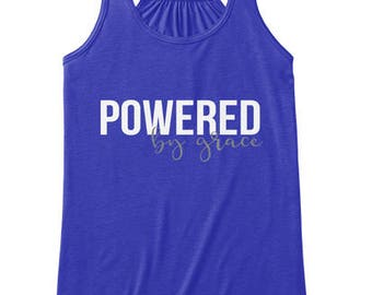 Powered By Grace, Faith Scripture Tank Top, Women Workout Apparel, Illustrated Faith Christian T-shirt, Fitness Gift for Her