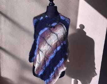 Hand knitted poncho, blue and Brown mix
