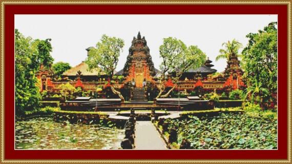 Udud Temple, Bali Cross Stitch Pattern /Digital PDF Files /Instant downloadable