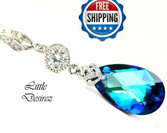 Bridal Necklace Bermuda Blue Swarovski Crystal Necklace Blue Necklace Bridesmaid Blue Necklace Blue Pendant Necklace Silver Necklace BB32N