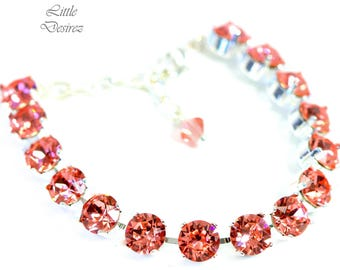 Coral Bracelet Peach Bracelet Crystal Tennis Bracelet Swarovski Crystal 8mm Chaton Bracelet Bridal Bracelet Coral Jewelry More Colors CO35BR