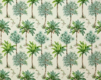 MANUEL CANOVAS TROPICAL Tropical Palm Trees Toile Fabric 10 Yards Green Amber Orange