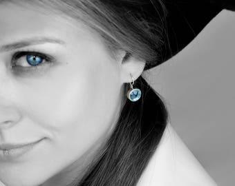 SUMMER SALE - silver earrings,blue topaz earrings,dangle earrings,bezel earrings,bridesmaid earrings,wedding earrings