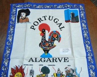 "Vintage Portugal tea towel - rooster ""barcelos"" - symbol of Portugal - Algarve - souvenir of Portugal"