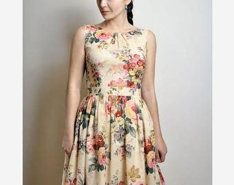 Floral Dress, Cotton Dress, Dress With Pockets, Custom made dress, Midi dress, Midi skirt, 50's dress, fit and flare