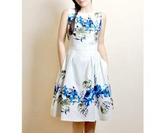 Blue Floral dress, Cotton-sateen dress, Midi dress