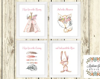 BOHO TRIBAL WOODLAND Baby Girl Wall Art, Baby Fox Bunny Teepee Arrows, Baby Girl Wall Art, White Pink, Instant Download, Digital Printable