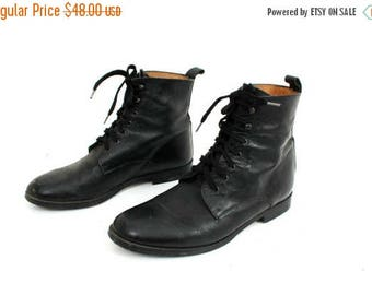 SALE Vintage Studio Andre Black Leather Lace Up Ankle Boots Size 41