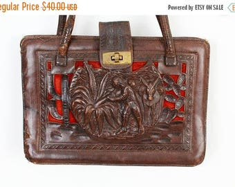 SALE Tooled Leather Bag / Tooled Purse / Antique Bag / Handcrafted Bad / Aztec Bag / Mexican Bag / Hand Tooled Bag / 50s Bag / Collectible B