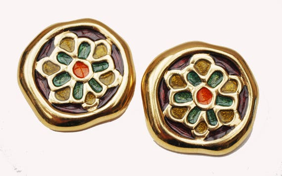Givenchy New York Earrings -  Chunky Gold -Abstract flower- Brownorange green -  Enamel  Earrings