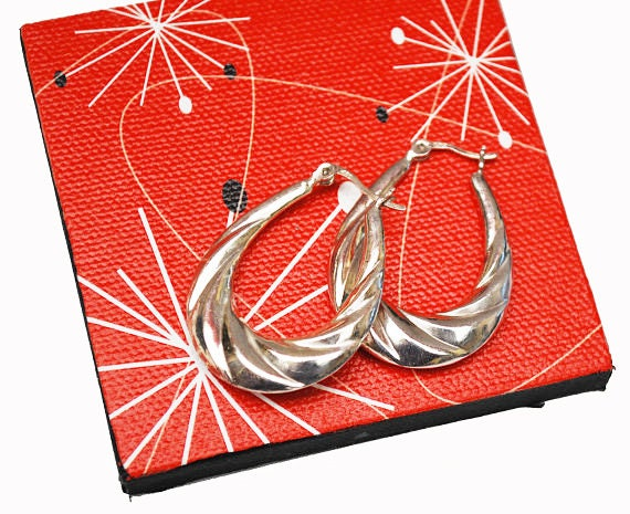 Large  Sterling Hoop Earrings - puffy hallow sliver hoops - Modernistic design -  twisted ribbed -style Signed  925  - pierced earrings