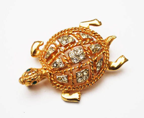 Turtle Brooch - Signed KJL - Rhinestone - Gold - Kennith Jay Lane - figurine pin