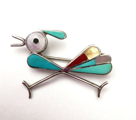 Road Runner Brooch - Silver Turquoise Coral Mother of pearl Onyx Inlay  - Southwestern - Old Pawn  - Native American  Navajo  - Bird  pin