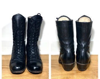 Lace Up Boots 10 / Black Lace Up Boots Women's Size 10 Boots Black Leather Boots Black Combat Boots Midi Lace Up Boots Men's Boots 8 1/2
