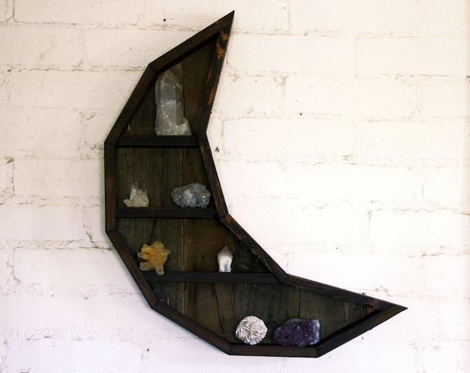 Crescent Moon Curiosity Cabinet // Reclaimed Wood Moon Shelf // Crystal and Gem Display Shelving