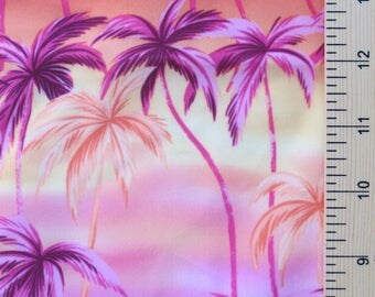 Polyester Spandex Fabric magenta orange yellow palm tree design Matte Finish - 4 Way stretch - 49 X 43 inches for swimwear, leotards, dance