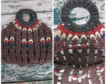 Summer Clearout Vintage 1960's Leather Loop Handbag