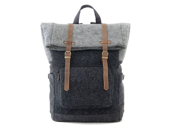 CITYCARRY Laptop Backpack / Wool Black