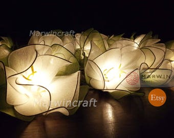20 Big White Loyal Lotus Flower Fairy String Lights Night Floral Party Patio Wedding Garland Gift for her Home Living Bedroom Holiday Decor