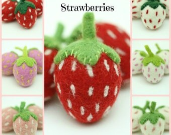 Felt Strawberries | Felt Strawberry | Summer Strawberries | Wool Felt Strawberries