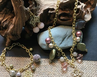Gold delicate set pinks and greens