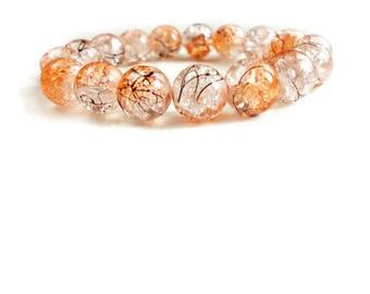 Orange Stretch Beaded Bracelet - Beaded Bracelet - Gifts for Her - Halloween Bracelet - Women's Stretch Bracelet - Bead Bracelet