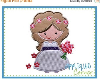 40% OFF Flower Girl applique digital design for embroidery machine by Applique Corner