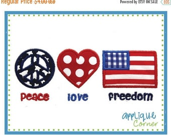 40% OFF INSTANT DOWNLOAD Peace Love Freedom 4th of July applique design in digital format for embroidery machine by Applique Corner