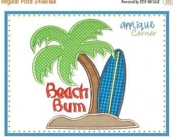 40% OFF 528 Beach Bum with Palm Tree and Surf Board applique digital design for embroidery machine by Applique Corner