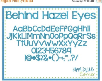 40% OFF Behind Hazel Eyes Embroidery Font in bx, dst, jef and pes digital design for embroidery machine by Applique Corner