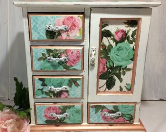 White Jewelry Box Armoire, Musical Jewelry Box, Vintage Roses Turquoise Damask Jewelry Cabinet, Shabby Cottage Chic Jewelry Organizer