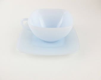 One Azurite Cup and Saucer by  Fire King - Cup and Saucer - Ice Blue Milkglass - Partial Set - Fun and Collectible