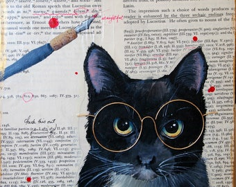whimsical painting cats in eyewear the scholar