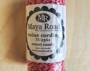 Maya Road Twine Cording. Sweet Candy (red, pink, white). Over 100 yards.