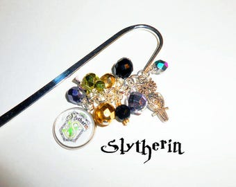 Bookmark, Harry Potter Inspired Charmed Bookmark,Slytherin Book Hook, Books and Zines, Beaded Bookmark, Bookmark, Harry Potter Gifts