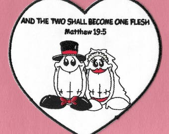 Wedding - Bride - Groom- Heart -Christian Theme - Smiley - Iron On Patch - Weddings,Showers,Crafts