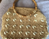 SALE Vintage 1950s-60s It's In The Bag made in Japan Exclusively for Ritter Kitsch Straw Bag w Seashells and Round Bamboo Handles