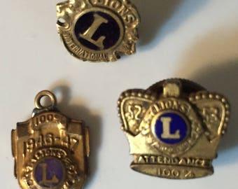 Vintage Lions Club Service Pins Pendant 1940s-50s Lions Club Gold Filled Lapel Pins