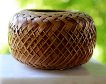"""miniature bamboo basket  3 """" wide x 2 """" tall woven bamboo. 1970 excellent condition"""